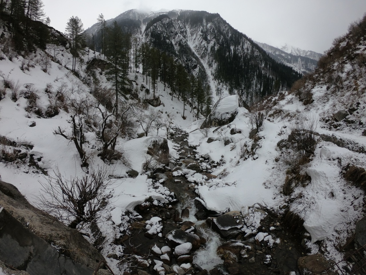 snow covered har ki doon valley
