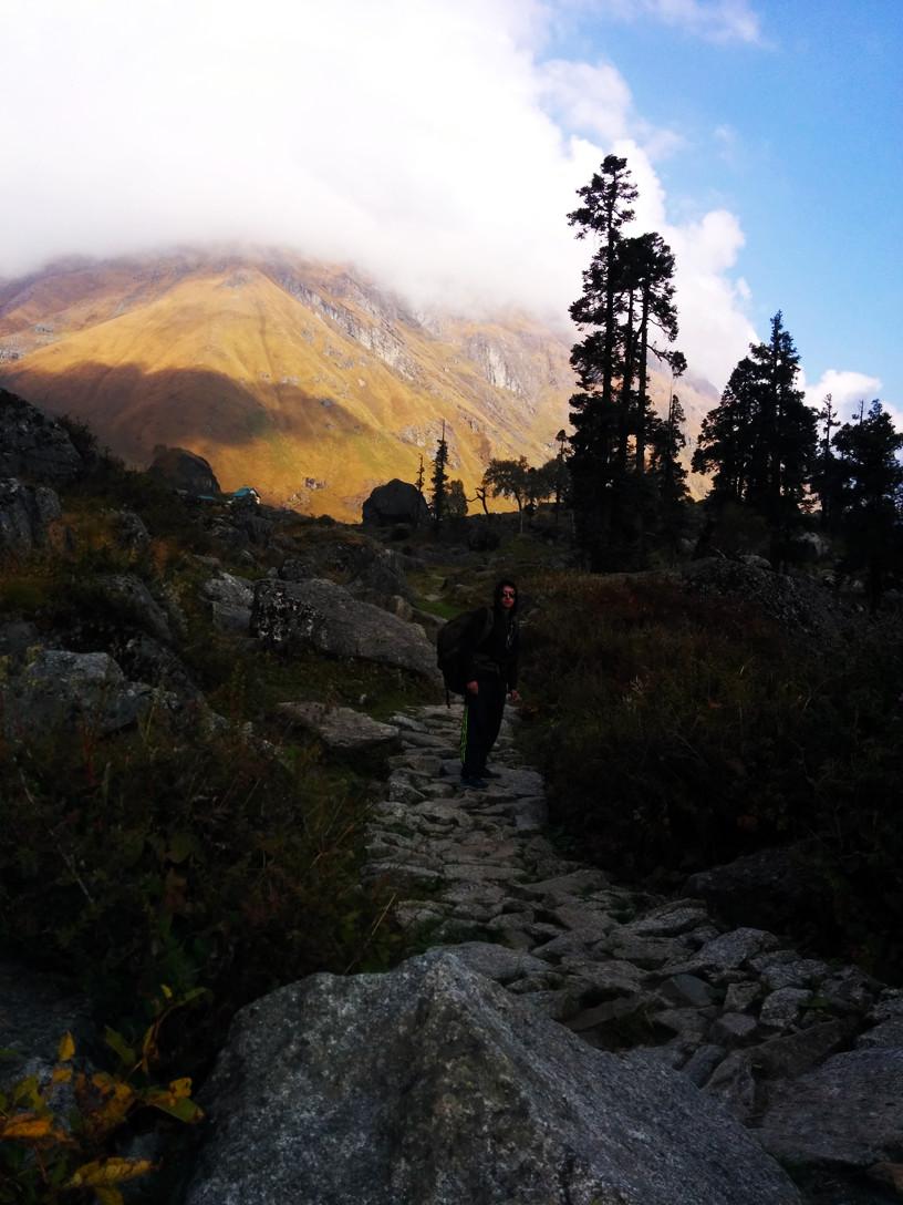 trekkers walking on single trail on har ki dun trek