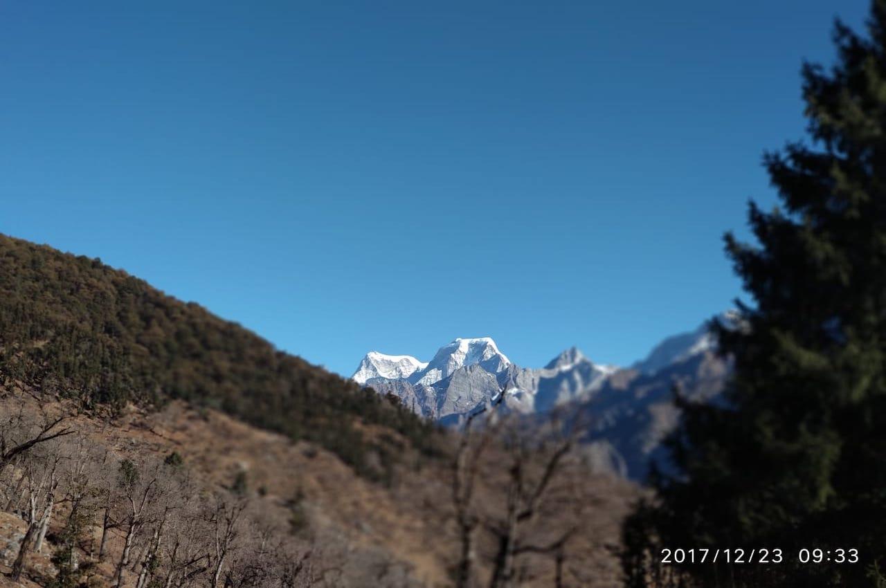 nanda devi peak visible from kuari pass trek