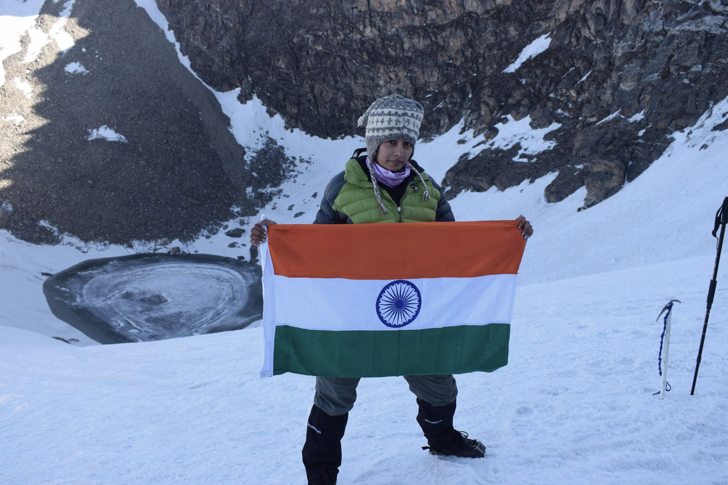 tricolour at frozen roopkund lake